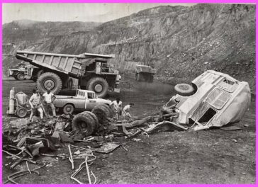 Aftermath of mining truck running over a bus at the LAMCO mine in Nimba, Liberia, 1972 or 1973. No fatalities.