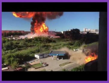Gas station explosion in Novosibirsk, Russia today