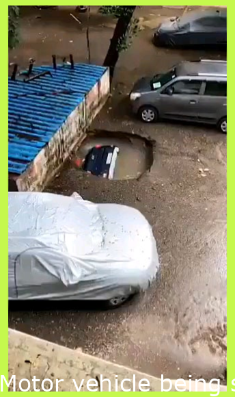 Car being swallowed by Sinkhole in Mumbai, India | 13th if June, 2021