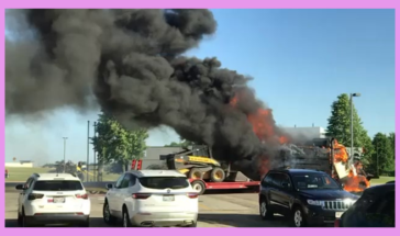 Happened June 4th 2021. A dump truck diesel tank leak caught fire at a local gas station. (No one injured)