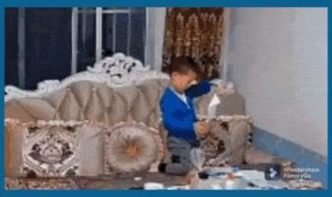 Kid playing with fire